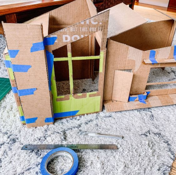 Lắp ráp hoàn chỉnh nhà bằng thùng giấy cho mèo