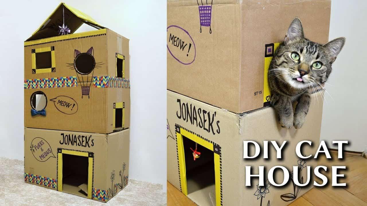 Mẫu nhà thùng giấy cho mèo 1